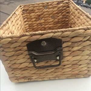 NWT Wicker Basket with plated hardware handles